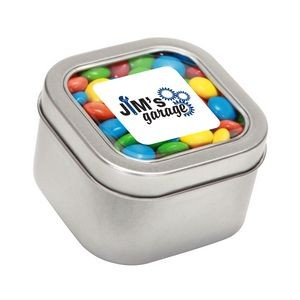 M&Ms® Plain in Lg Square Window Tin